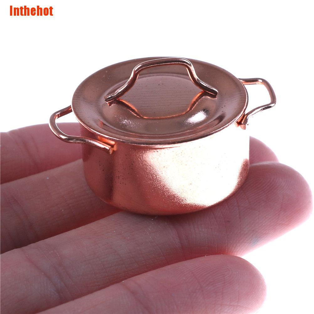 [[Inthehot]] 1/12 Dollhouse Miniature Kitchen Copper Pot with Lid
