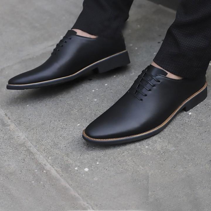 Giày tây nam đẹp da mềm mịn- Da bò- Đế diễu- Dây buộc- Mã CS03