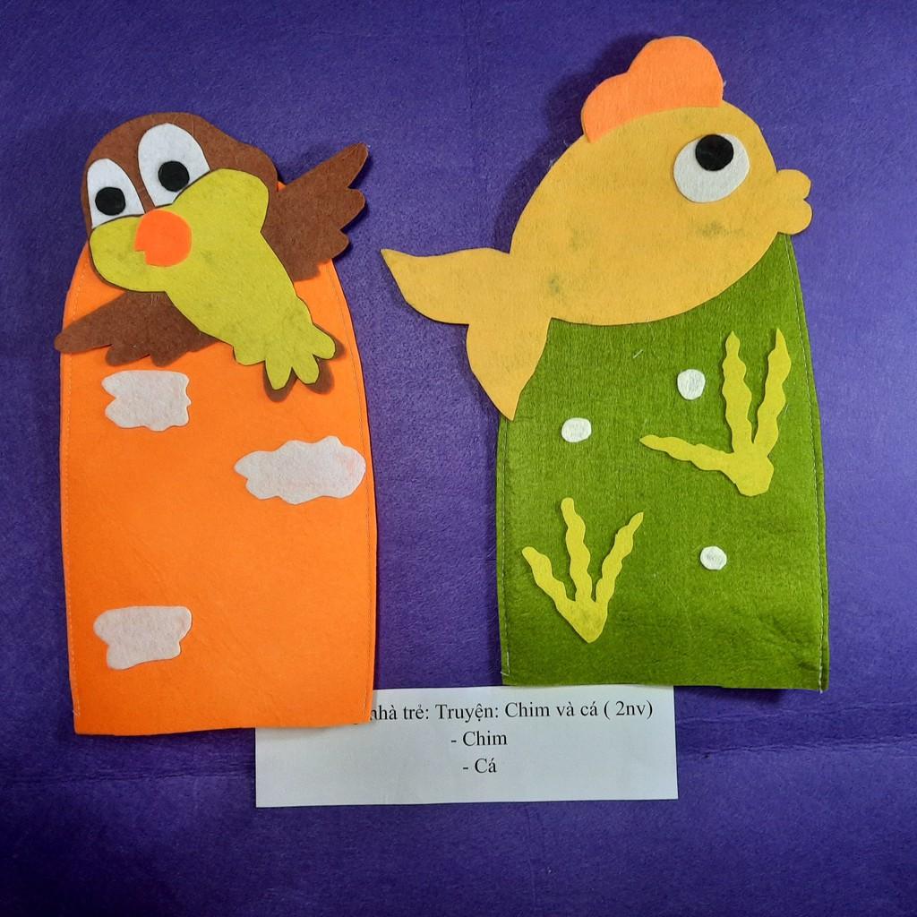 Bộ 02 rối bàn tay truyện chim và cá – Rối tay kể chuyện, rối hình thú – đồ chơi an toàn cho bé MCP.shop