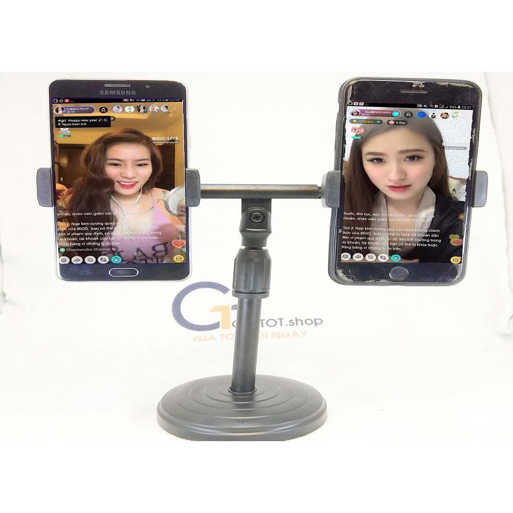 Giá livestream 2 điện thoại cùng lúc,Giá Đỡ Kẹp Điện Thoại LiveStream, Giá Đỡ 2 Điện Thoại Livestream Để Bàn,