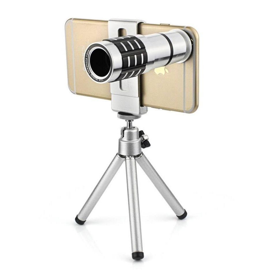 Bộ lens zoom 12X kèm chân chụp hình cho điện thoại