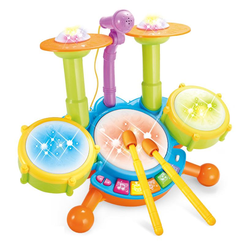 Lighting music with microphone, jazz drum set toys