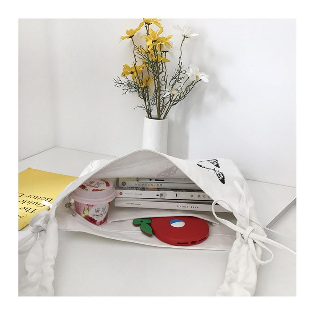 Túi tote đeo chéo canvas vải mềm giá rẻ đựng vừa a4 sách vở hot trend