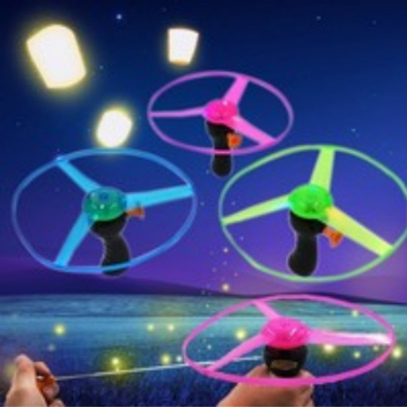 Glow In The Dark Flashing Toys Funny Pull String UFO LED Light Up Flying Disc Colorful Kids Toys