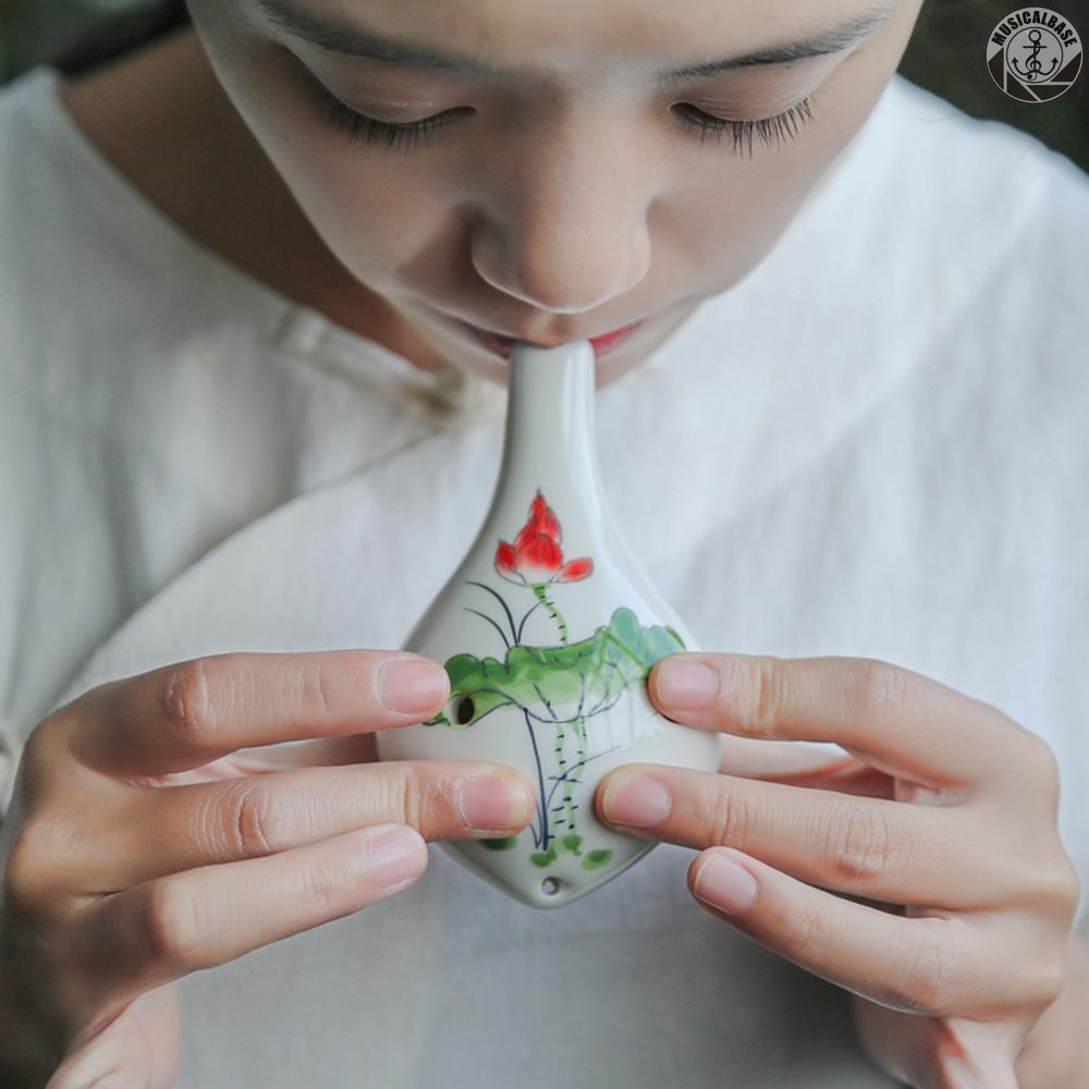 Kèn Ocarina 6 Lỗ Bằng Gốm In Họa Tiết Vẽ Tay Kèm Dây Đeo