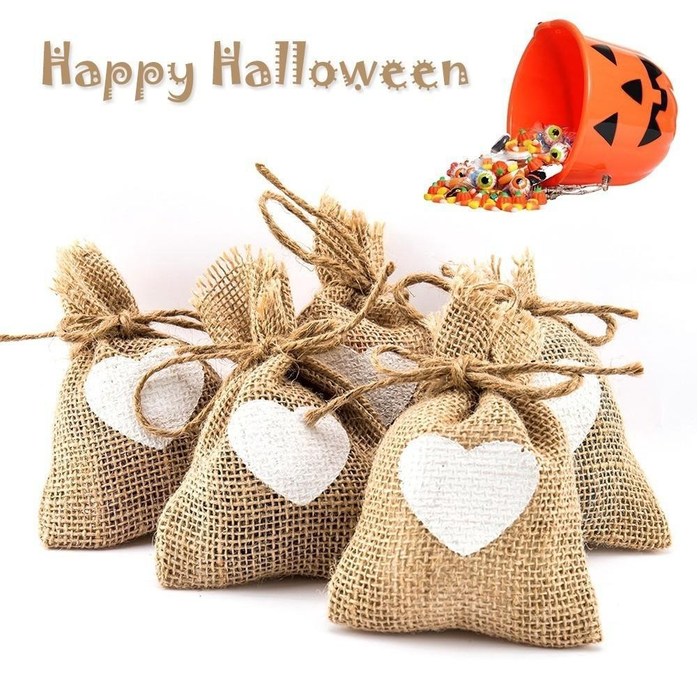 10pcs Halloween Hessian Drawstring Pouch Burlap Candy Favour Bag Wedding Gift