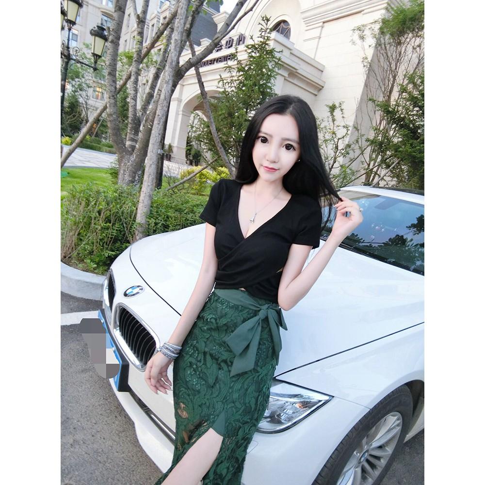 2018 mùa hè mới thời trang sexy ngắn tay áo sơ mi + ren chia cung cung váy hai m