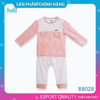 [CHÍNH HÃNG] Bộ quần áo dài tay cho bé Haki vải sợi tre cao cấp BB028 – Bộ quần áo thu đông cho bé cao cấp