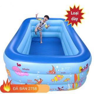 Bể phao bơi ❤️Chọn Cỡ❤️ hồ bơi nhà lều chơi banh bơm hơi CHỮ NHẬT cho trẻ em bé trong nhà 3 tầng