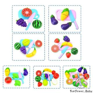 ❀ZZ-Plastic Cutting Vegetables Fruits Baby Early Educational Kitchen Toys Pretend Food Playset