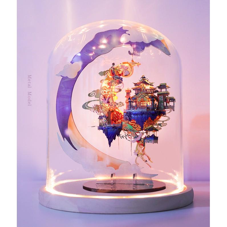 Mô hình lắp ghép kim loại 3d Quảng Hàn Cung-tặng kèm đèn led và giá đỡ(MU)