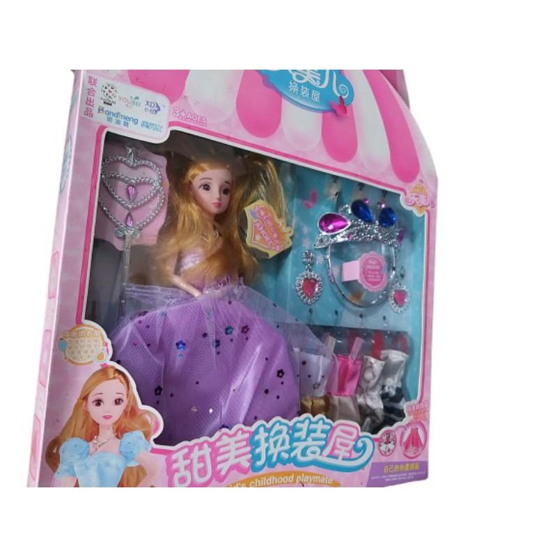 Búp bê baber công chúa với vương miện trang sức và váy áo thay thỏa sức sáng tạo cho bé