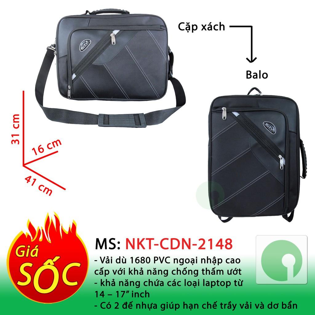 Cặp xách công sở đa năng (biến thành Balo) - có ngăn Laptop cho dân văn phòng đẹp giá rẻ - NKT-CDN-2148 (Đen)