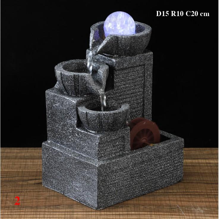 Thác nước phong thủy để bàn bằng Resin Composite size 15x10x20 cm, mẫu thác đá 3 tầng