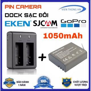Combo 2 Pin 1050 mAh + Dock Sạc Đôi Cho Mọi Camera Hành Trình Eken H9r, SJCAM 4000, Amkov, Camera 4k thumbnail