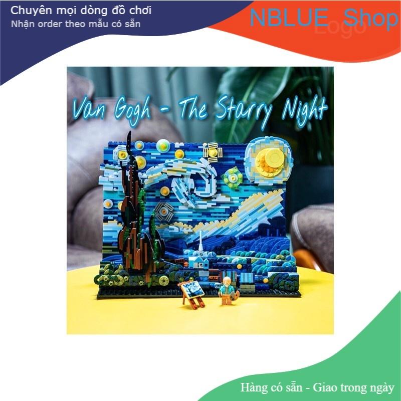 [ Có Đèn ] Đồ Chơi Lắp Ghép Đêm Đầy Sao Lego Starry Night – Van Gogh Quà Tặng Cực Đẹp DK3001 – Xếp Hình Mô Hình NBlue