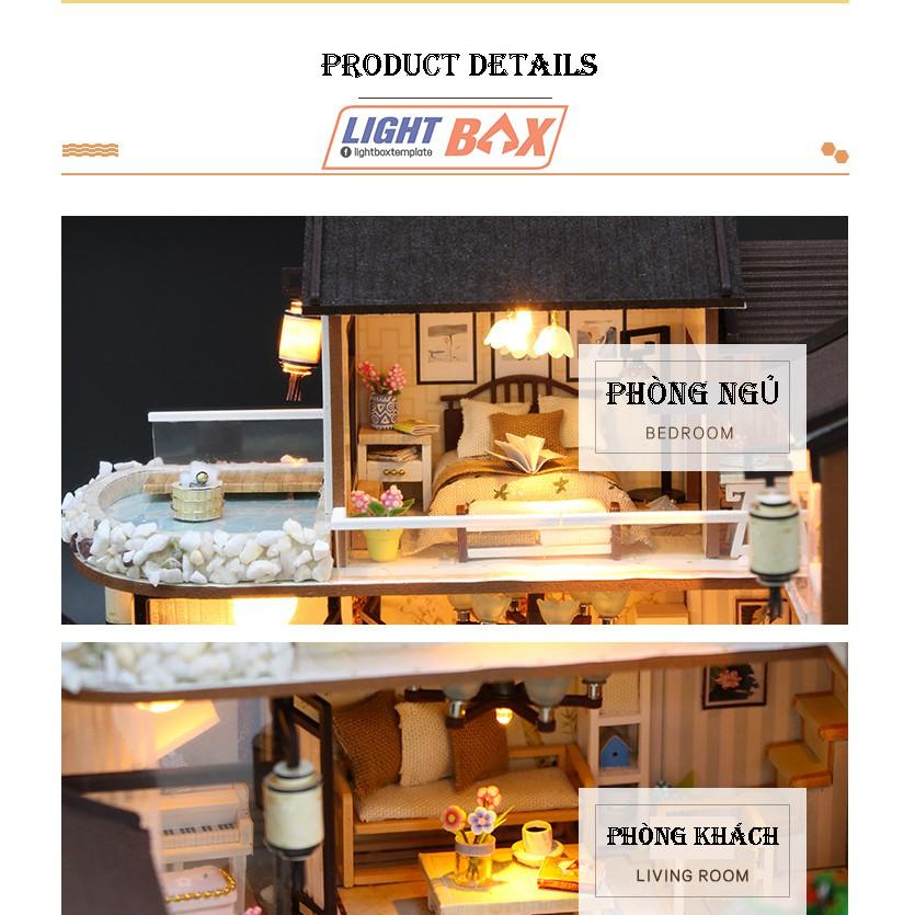 Nhà búp bê Tự làm bằng gỗ [Nhà có nội thất MỘNG HỒI CỔ TRẤN & đèn LED] Tặng khung bảo vệ + Dụng cụ
