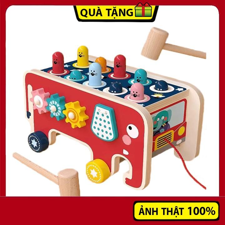 Đồ chơi gỗ 3 trong 1 đập chuột kèm đàn kết hợp xoay bánh răng cho bé thông minh trí tuệ