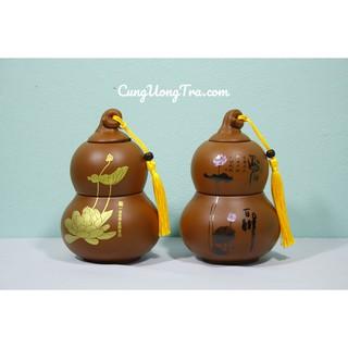 Hộp Đựng Trà Hồ Lô Tiên Bằng Gốm – Đựng được 2 loại trà một lúc