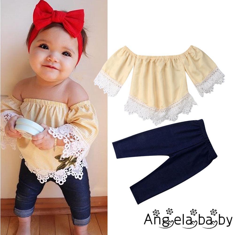 Bộ áo trễ vai + quần dài cho bé