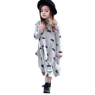 Đầm tay dài in họa tiết chú chuột xinh xắn đáng yêu cho bé gái