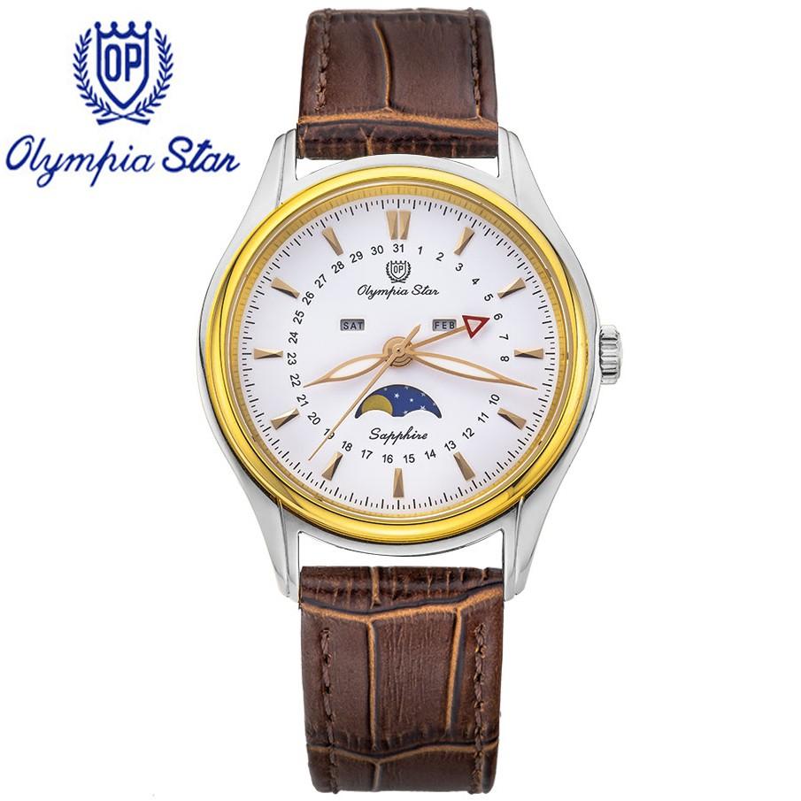 Đồng hồ nam dây da mặt kính sapphire chống xước Olympia Star OPA98022-80MSK-GL-T