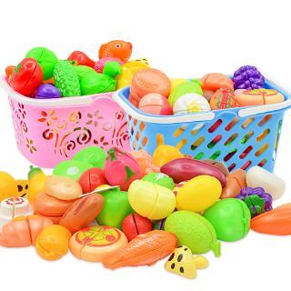 Xe đẩy trẻ em mua sắm đồ chơi nữ sinh chơi nhà bếp mô phỏng siêu thị tay đẩy cắt nước và rau quả cắt âm nhạc giỏ hàng