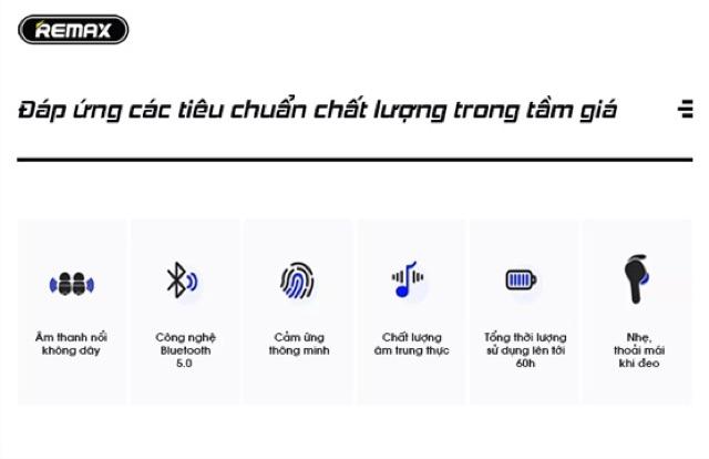 Tai nghe bluetooth remax tws 6 cảm ứng V5.0 chính hãng cho âm thanh hay kiểu dáng tai nghe thể thao