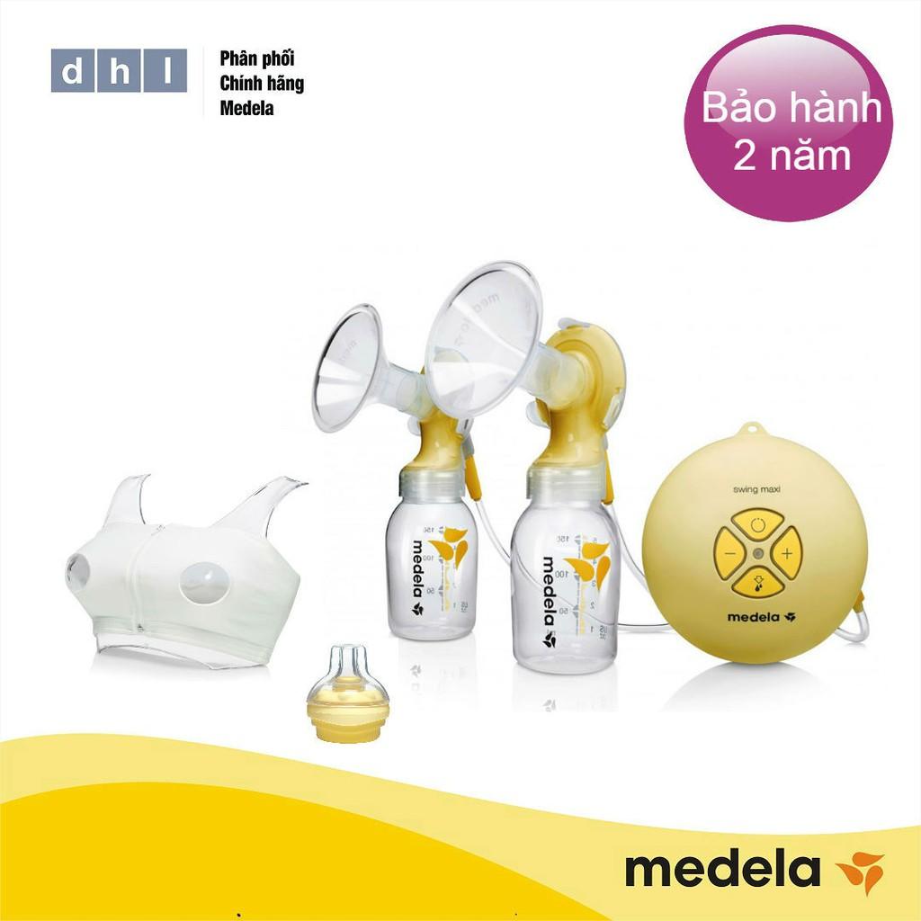 Máy hút sữa điện đôi Medela Swing Maxi - Tặng áo hút sữa rảnh tay DHL và 1 núm Calma