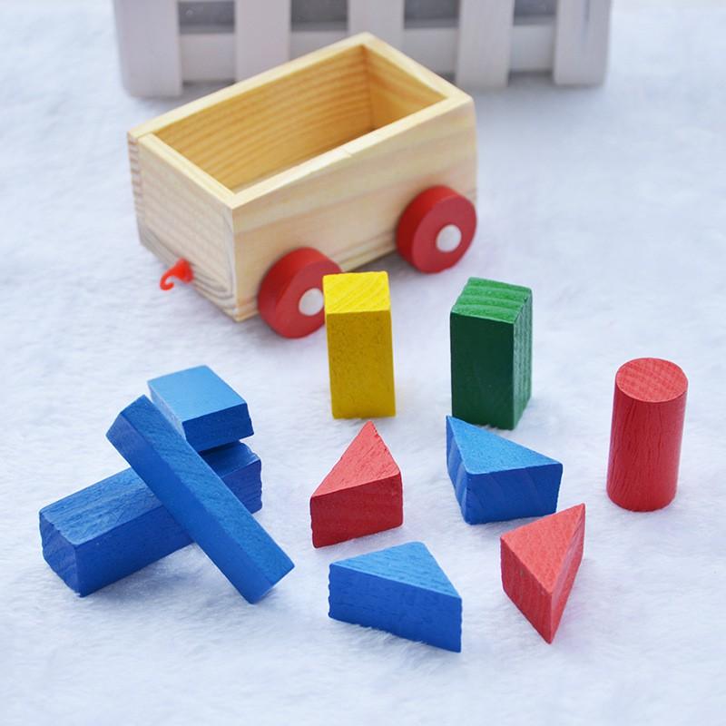 Tàu lửa chở hình khối xây dựng bằng gỗ cho bé