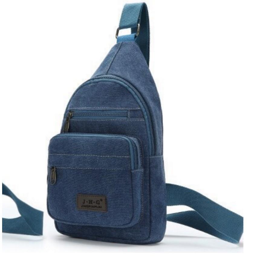 Túi Đeo Ngực Canvas Phối Da Phong Cách Trẻ trung TU 071 (xanh)