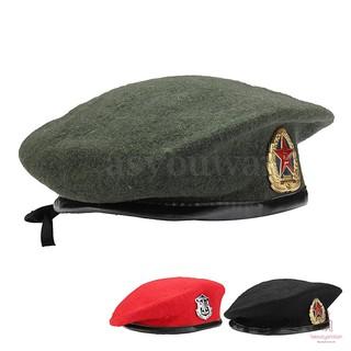 【☪BR】 Mens Accessories Vintage Unisex Military Soldier Army Hat Wool Beret Beanie Cap