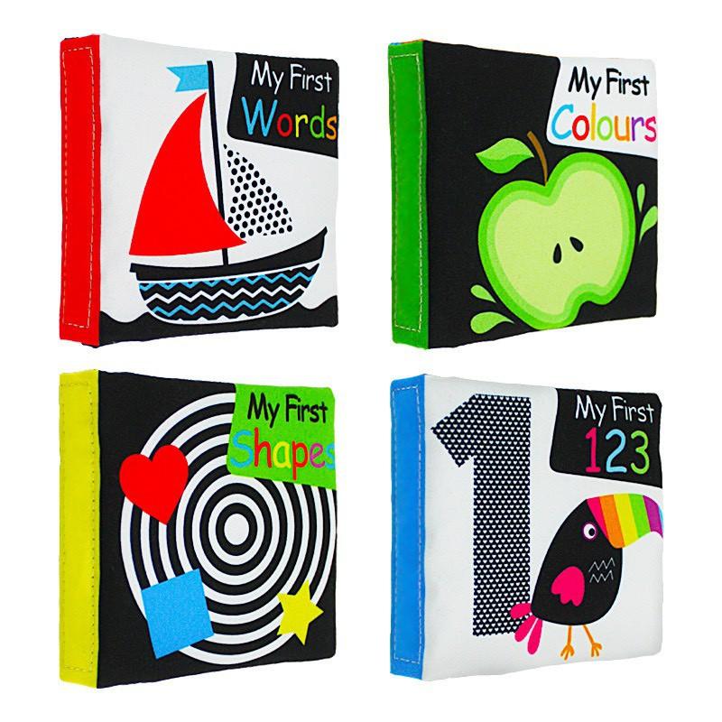 Bộ 4 cuốn sách vải kích thích thị giác cho bé 0 month +