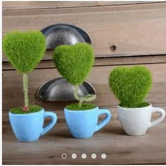 Chậu cỏ giả - Trái tim cỏ xanh