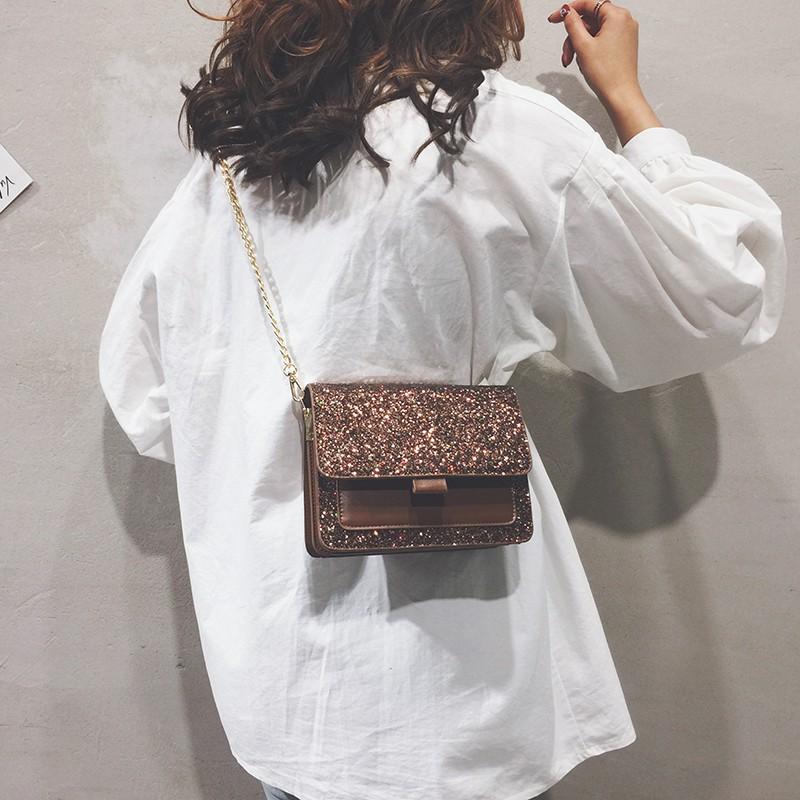 Small bag female 2018 new fashion Korean sequin shoulder Mes