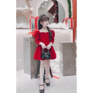 Váy Bé Gái Chất Nhung Đỏ Sang Chảnh [V06] - Babi mama