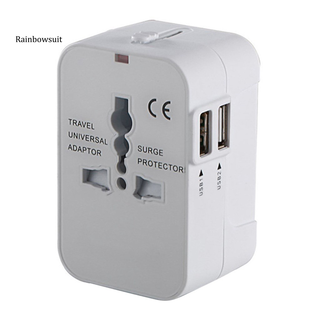Phích chuyển đổi nguồn sạc 2 cổng USB AC US AU EU UK tiện dụng chất lượng cao