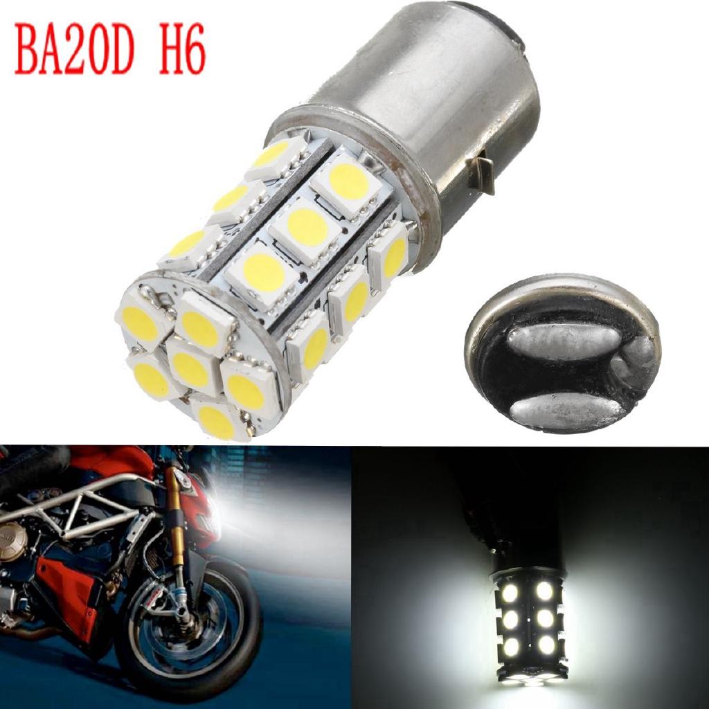 6000K 12V Motorcycle ATV Headlight Fog Tail Bulb Light Lamp  BA20D H6 24LED SMD