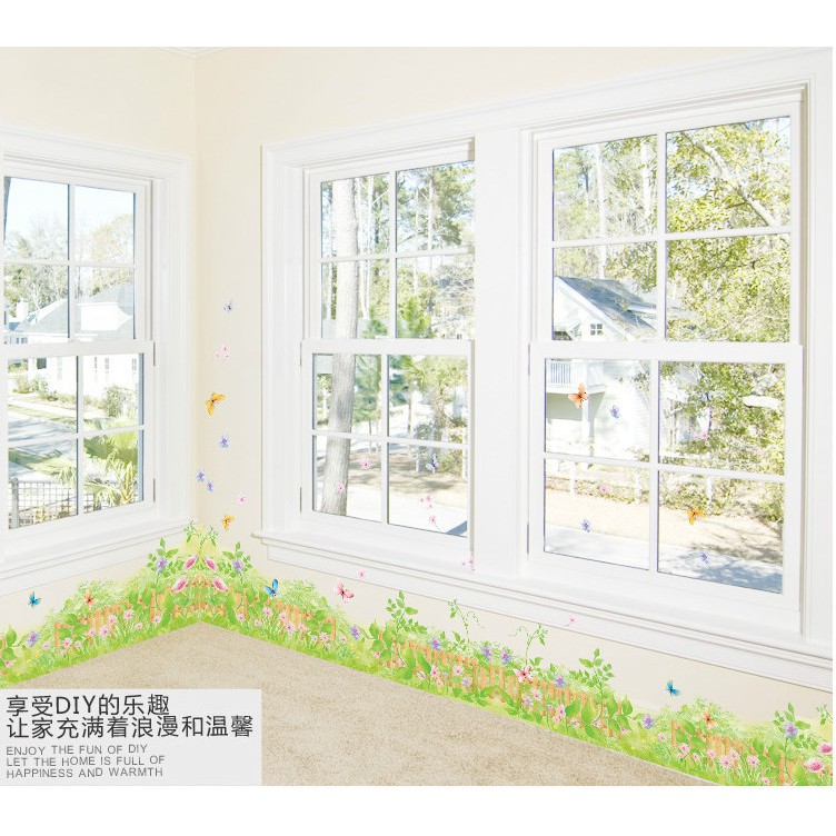 Decal chân tường hoa cỏ dại -50x70