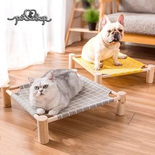 Giường gỗ cho thú cưng kèm vải thoáng khí nhiều màu sắc Võng cho chó mèo dễ dàng tháo lắp và làm sạch thumbnail