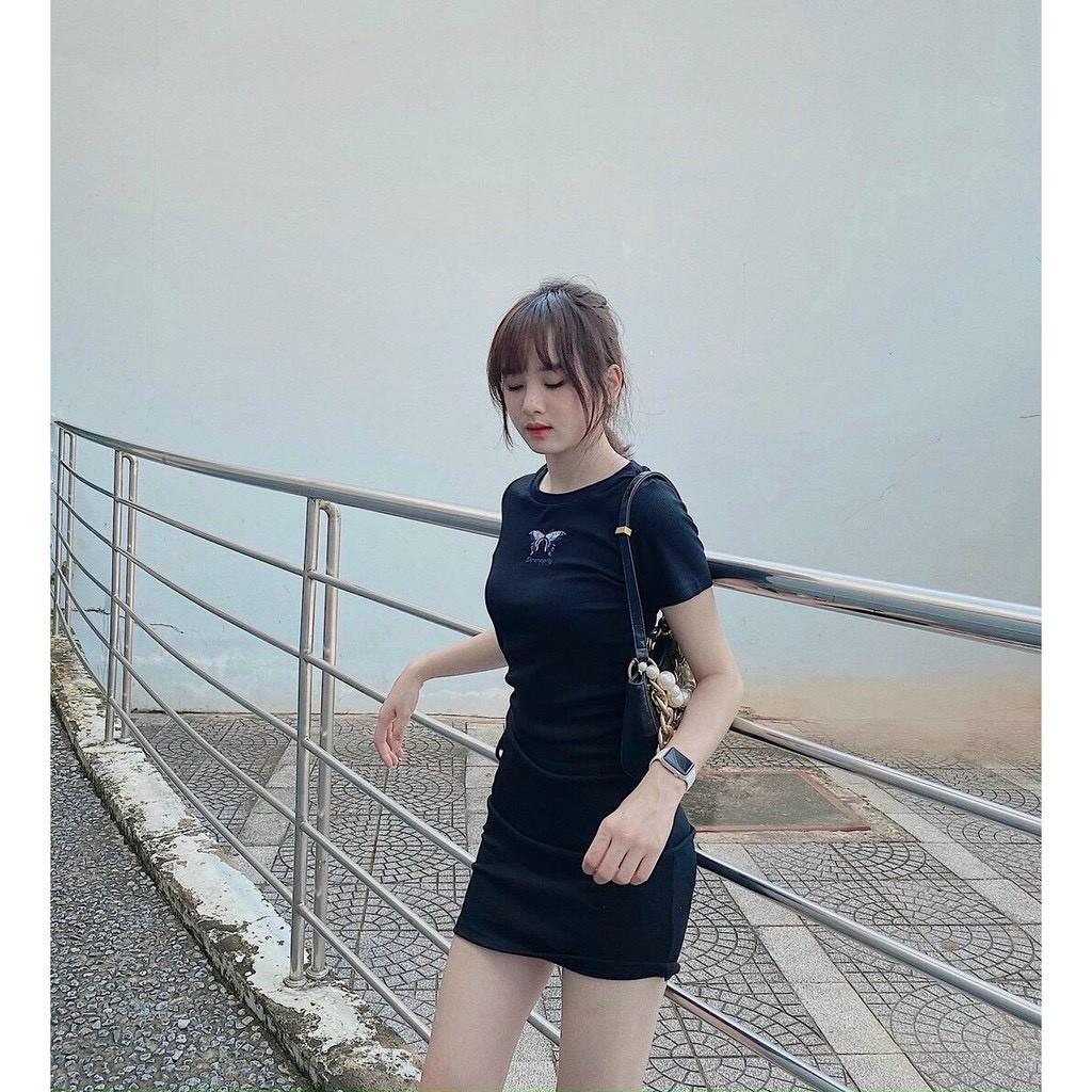 Váy Body Nữ Ôm Dáng- Váy Body Hình Bướm Khoét Eo Chất Thun Siêu Ôm Dáng Hàng Loại 1