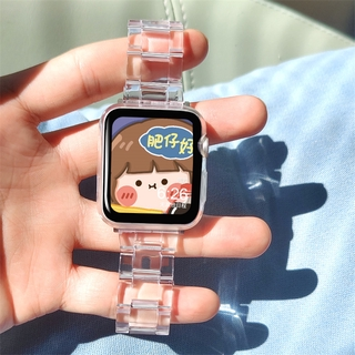 Dây đeo bằng nhựa trong suốt độc đáo cho đồng hồ thông minh Apple Watch Series 6 SE 5 4 3 2 1 38mm 40mm 42mm 44mm thumbnail