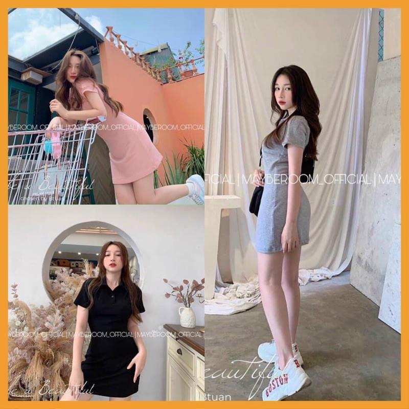 Váy polo ngắn tay, Đầm dáng suông polo chất cotton 4 chiều năng động💥