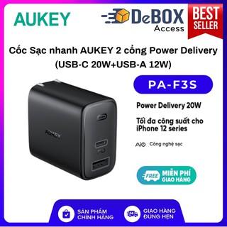 [NEW 2021] Cốc Sạc Siêu Nhanh AUKEY 2 Cổng PA-F3S, Sạc Nhanh Cổng Type C Power Delivery 20W, Cổng USB-A 12W - BH 24T