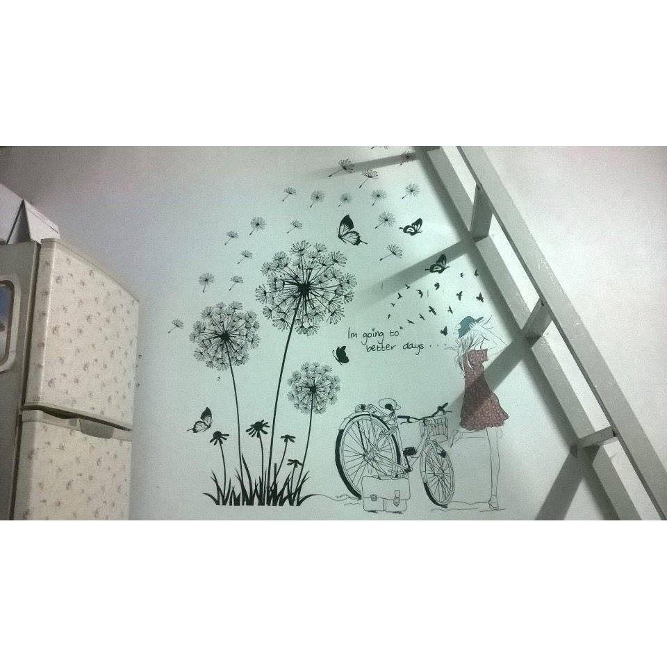 Decal dán tường cô gái xe đạp và bồ công anh 1