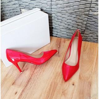 Giày cao gót nữ bít mũi đế nhọn cao 7 phân phom rộng nên giảm 1 size