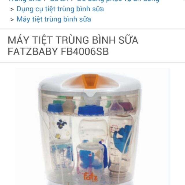 Máy tiệt trùng bình sữa Fatzbaby fb4006sb 699k