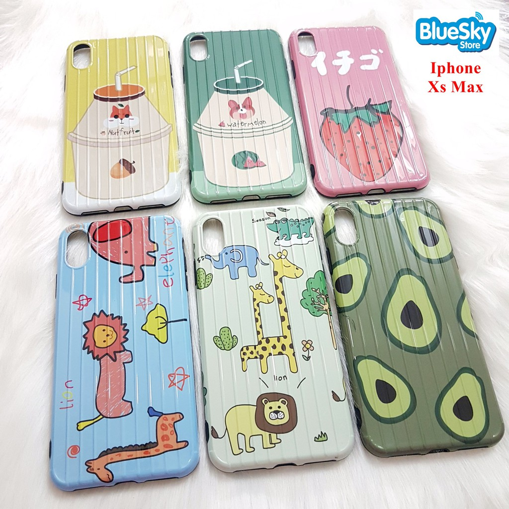 Ốp lưng Iphone Xs Max vân nổi vali nhiều hình nhựa dẻo