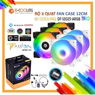 Bộ kit 3 Quạt Fan Case 12cm ID-Cooling DF-12025 ARGB TRIO – Hiệu ứng led ARGB đẹp, hiệu năng tốt, hub, remote không dây