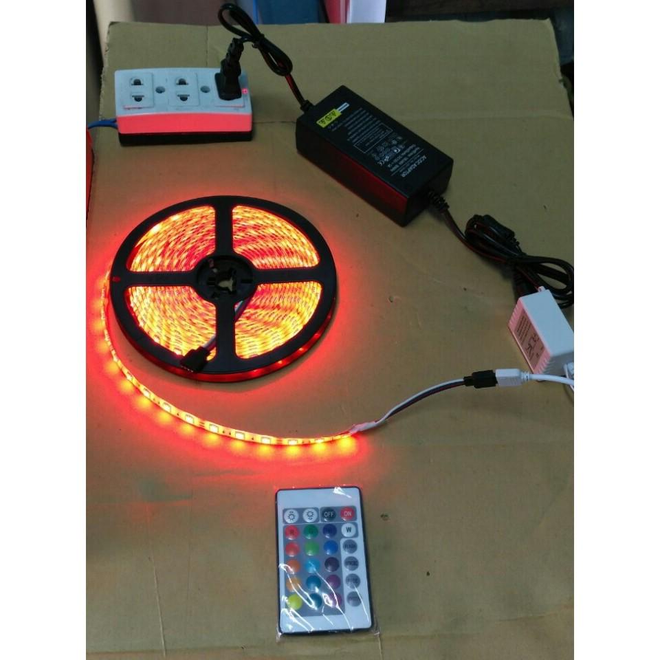 Combo Đèn Led dây đổi màu 5050 ( 5m ) - RGB + nguồn 5A + Remote